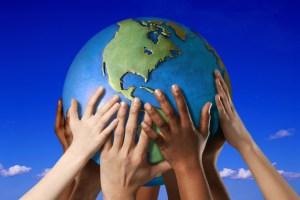 hands globe